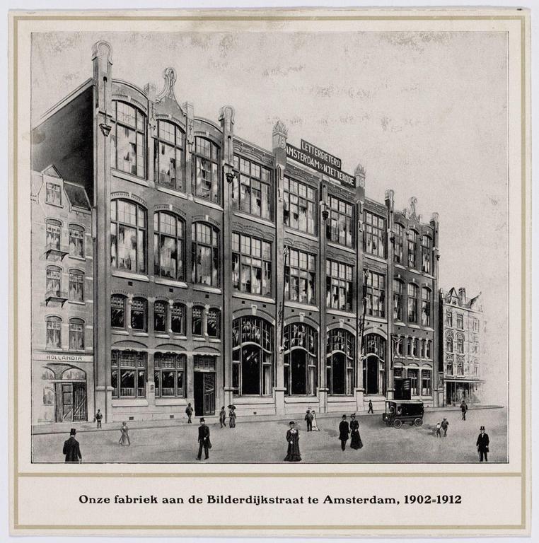 Tetterode gebouw aan de Bilderdijkstraat rond 1912