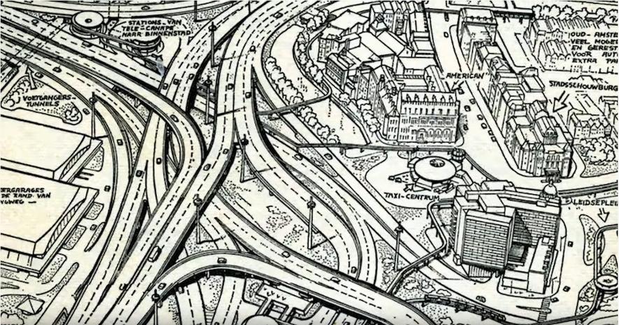 """Fotomontage van het plan van David Jokinen (1967) voor een """"zuidwestelijke cityweg"""" die via Surinameplein (linksonder) de stad in komt"""